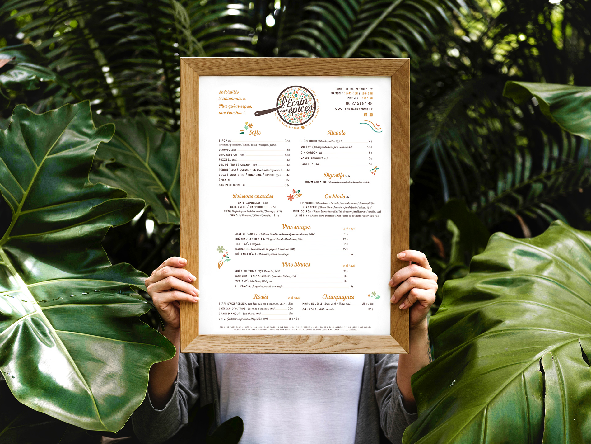 Creation graphique d'un menu et carte des boissons d'un restaurant creole en normandie